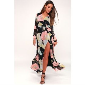 WONDROUS WATER LILIES BLACK FLORAL MAXI DRESS